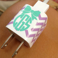 Monogram iPhone Charger Decal Sticker in Chevron with Bow