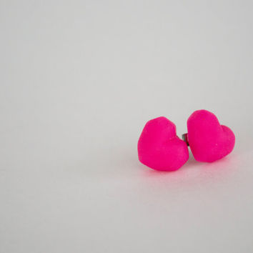 Hot Pink Heart Earrings