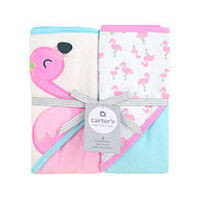 Carter's Two Pack Hooded Pink Towel Set - Flamingo Design