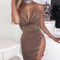 Hot style sells bright diamond halter belt deep V halter dress dress