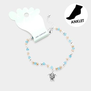Faceted Bead Metal Turtle Charm Anklet