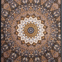 "85""x100""Indian Star Tapestry Fabric BEAUTIFUL Black White Purple Tan & Dark Gold, Great for Curtains Pillows Table Cloth Hippie Clothes"