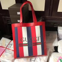GUCCI 2018 Newest Vertical Canvas Shopping Bag Fashion Shopping Leather Tote