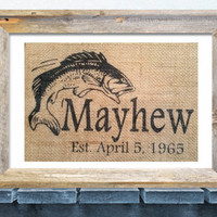 Man Cave Wall Art, Personalized Gift for Men, Bass Fish Decor, Fish Wall Art, Gifts for him, Father's Day Gift, Dad Gift