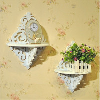 White Filigree Style Wall Shelf Shabby Chic Simple Candle Home Decoration Holder