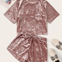 Pocket Patch Velvet Top & Tie Front Shorts Set