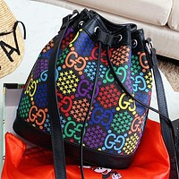 GUCCI Fashion New Multicolor More Letter Print Leather Shoulder Bag Crossbody Bag Bucket Bag