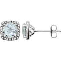 Sterling Silver 6mm Aquamarine & .015 CTW Diamond Halo-Style Earrings