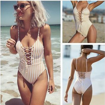 Sexy New Arrival Summer Beach Hot Swimsuit Swimwear Stripes Backless Bikini [521665609743]