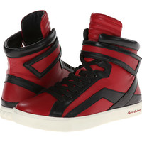 Pierre Balmain Colorblocked Leather High Top Sneaker Red/Black - Zappos.com Free Shipping BOTH Ways
