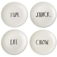 Rae Dunn Stem Print Small Plates, Set of 4