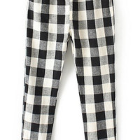 Black and White Plaid Drawstring Waist Pant