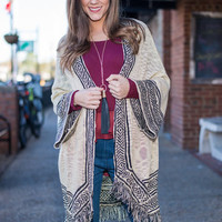 Across The Border Cardigan, Taupe