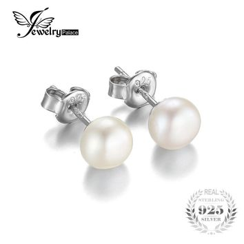 JewelryPalace 6-10mm Freshwater Cultured Pearl Button Ball Stud Earrings 2016 925 Sterling Silver Fshion Fine Jewelry  For Women
