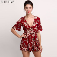 Summer 2017 Womens Romper Shorts One Piece Jumpsuit Sexy Short Sleeve Floral ZIP High Waist Playsuit Rompers Womens Jumpsuit