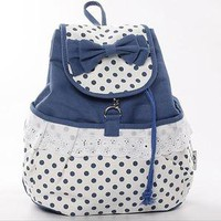jullygo —  Cute Bowknot Lace Blue Backpack