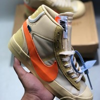 "Off-White x Nike Blazer Mid ""Grim Reaper"" cheap Men's and women's nike shoes"