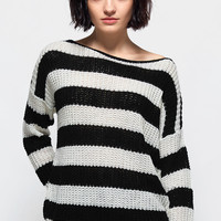 Cupshe Line Forever Stripe Off the Shoulder Sweater