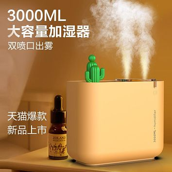 3L Dual Nozzle Humidifier Usb Large Capacity Home Silent Office Cactus Aromatherapy Air Humidifier