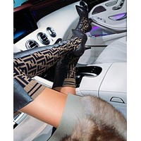 FENDI Logo-jacquard stretch-knit and leather over-the-knee boots High Heel 11/23