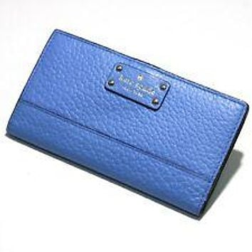 Kate Spade Stacey Bay Street Alice Blue Leather Bifold Wallet Cute/Cool/Unique Zipper Pouch/Bag/Clutch/Bag