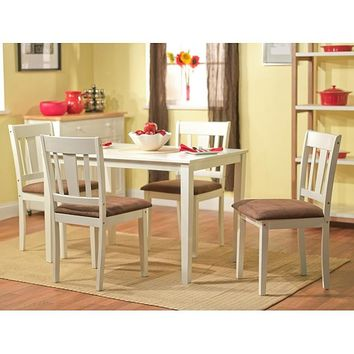 White 5-Piece Dining Table & Chairs Set