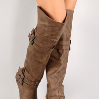 Night-79 Strappy Buckle Riding Knee High Boot