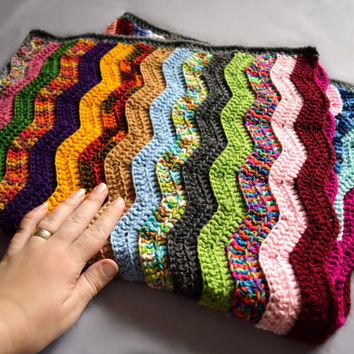 Baby blanket with colorful crochet ripples, pram blanket, stroller blanket, Ready to ship