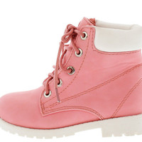 BADE5K CORAL WHITE KIDS UTILITY ANKLE BOOT