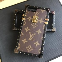 LV Hot ! iPhone X iPhone 8 iPhone 8 Plus - Button Phone Case For iphone 6 6s 6plus 6s plus iPhone 7 iPhone 7 plus Coffee Case