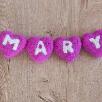 Needle Felted Name Banner-Baby Name Sign -Name Banner for Nursery-Name Wall Décor-Personalized Felt Name Banner-Nursery Wall Decor