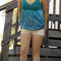 Beautiful Ombre Turquoise Aquamarine Hand Dyed Babydoll Tank Top with Crocheted Top #crochet