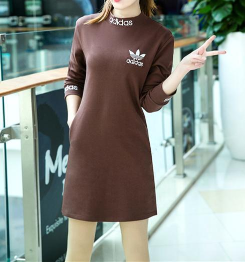 """Image of """"Adidas"""" Women Simple Letter Print Solid Color Turtleneck  Long Sleeve Sweater Dress"""