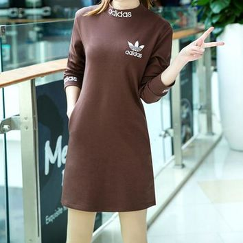 """""""Adidas"""" Women Simple Letter Print Solid Color Turtleneck  Long Sleeve Sweater Dress"""