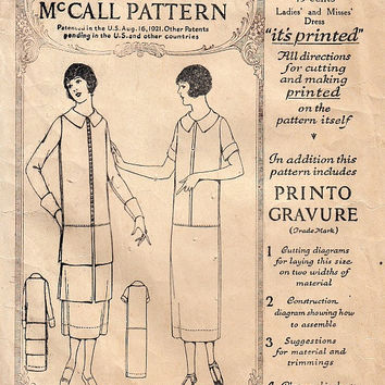 Vintage 20's Drop Waist Dress Pattern Optional Flounce Flapper Era Printed Detailed Instructions McCall 3788 Sewing Patterns Size 16 Bust 34