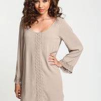 Embroidered Scoopback Crepe Dress - LoveCulture