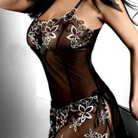 Amazing Women Black Embroidery Sexy Lingerie Dress Lady Print Transparent Nightwear Plus Size M-4XL