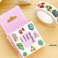 Succulent Plant Japanese Washi Tape, Mason Jar Masking Tape, Scrapbooking Stickers, Planner Stickers, Decorative Stickers - WT016