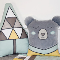 Gray Bear Pillow, Woodland Cushion, Teddy Plush