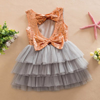 Kids Girls Clothes Baby Dresses Princess Sequined Bow Party Pageant Wedding Tulle Tutu Cake Evening Dress For Girl 1-6Years UBY