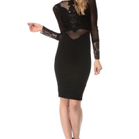 Black Nude Illusions Mesh Body Con Dress