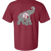 Comfort Colors Alabama Elephant Glitter Shirt - Crimson