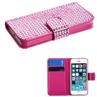 Book-Style Premium Diamante Wallet Case for iPhone 5 / 5S - Pink