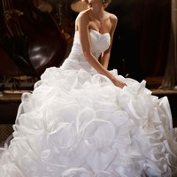 Ball Gown with Embellished Waist and Ruffled Skirt - David's Bridal - mobile