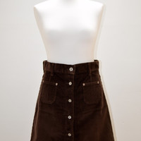 Vintage 1970s Brown Corduroy A-Line Skirt / Mini Short High Waist Over-Knee Button-Up Studs Studded Buttons Cord Dark Soft Comfortable