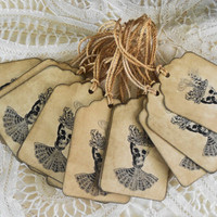 Skull Halloween Tags Potion Label Gift Tags Party Favors Vintage Style Treat Bags Grunge Primitive Dressed Up Skeleton Apothecary