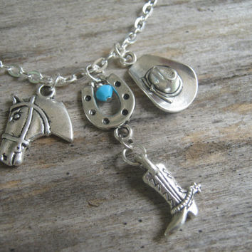 Country Western Necklace, Personalized Cowgirl Necklace, Good Luck Necklace, Cowboy Hat, Cowboy Boot, Horse Jewelry, Choose Your Length