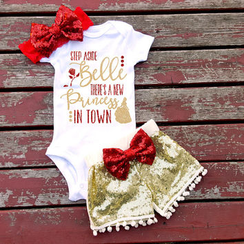Step Aside Belle Bodysuit, Baby Girl, Girls, Baby, Toddler, Princess, Newborn, New Baby, Rose, Beast, Beauty, Love, Headband, Bow