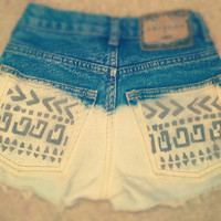 Made To OrderTribal Print High Waisted Shorts by DeathByApparel