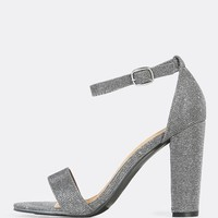 Glitter Single Band Ankle Strap Heels PEWTER